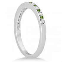 Peridot & Diamond Wedding Band 14k White Gold 0.29ct|escape