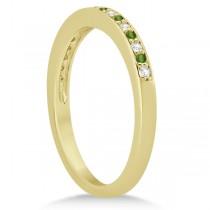 Peridot & Diamond Wedding Band 14k Yellow Gold 0.29ct