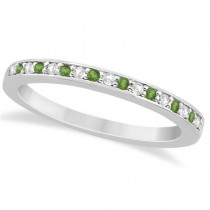 Peridot & Diamond Wedding Band Platinum 0.29ct