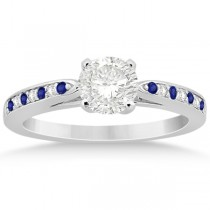 Tanzanite & Diamond Engagement Ring 14k White Gold 0.26ct
