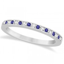 Tanzanite & Diamond Wedding Band 14k White Gold 0.29ct