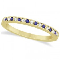 Tanzanite & Diamond Wedding Band 18k Yellow Gold 0.29ct