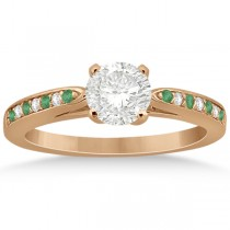 Cathedral Green Emerald Diamond Engagement Ring 18k Rose Gold 0.22ct