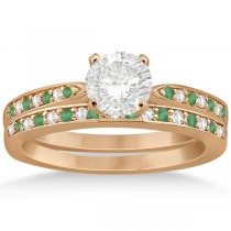 Diamond and Emerald Engagement Ring Set 14k Rose Gold (0.47ct)