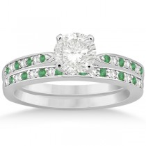 Diamond and Emerald Engagement Ring Set 14k White Gold (0.47ct)