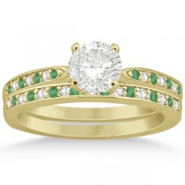 Diamond and Emerald Engagement Ring Set 18k Yellow Gold (0.47ct)