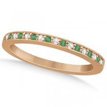 Semi-Eternity Emerald & Diamond Wedding Band 14k Rose Gold (0.25ct)