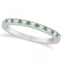 Semi-Eternity Emerald & Diamond Wedding Band 14k White Gold (0.25ct)