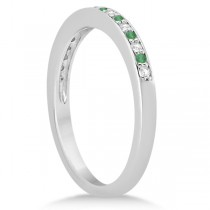 Semi-Eternity Emerald & Diamond Wedding Band 14k White Gold (0.25ct)|escape
