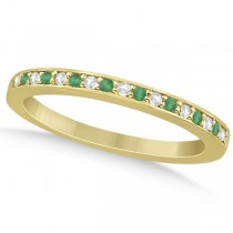 Semi-Eternity Emerald & Diamond Wedding Band 14k Yellow Gold (0.25ct)