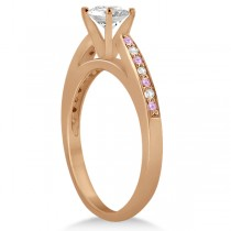Cathedral Pink Sapphire Diamond Engagement Ring 18k Rose Gold (0.26ct)