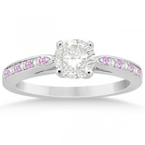 Cathedral Pink Sapphire Diamond Engagement Ring 18k White Gold (0.26ct)