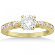 Cathedral Pink Sapphire Diamond Engagement Ring 18k Yellow Gold (0.26ct)