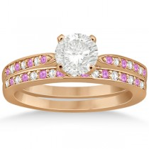 Pink Sapphire & Diamond Engagement Ring Set 14k Rose Gold (0.55ct)