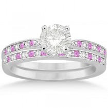 Pink Sapphire & Diamond Engagement Ring Set 14k White Gold (0.55ct)