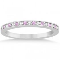 Pink Sapphire & Diamond Engagement Ring Set 14k White Gold (0.55ct)