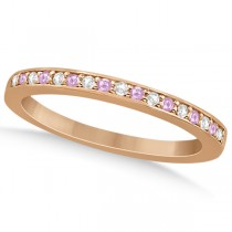 Pave-Set Pink Sapphire & Diamond Wedding Band 18k Rose Gold (0.29ct)