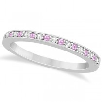 Pave-Set Pink Sapphire & Diamond Wedding Band 18k White Gold (0.29ct)