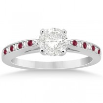 Cathedral Diamond & Ruby Engagement Ring 18k White Gold 0.22ct