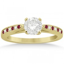 Cathedral Diamond & Ruby Engagement Ring 18k Yellow Gold 0.22ct