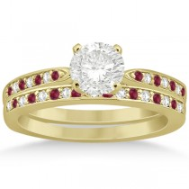 Ruby & Diamond Engagement Ring Bridal Set 14k Yellow Gold (0.47ct)