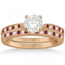 Ruby & Diamond Engagement Ring Bridal Set 18k Rose Gold (0.47ct)