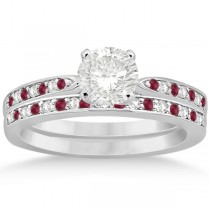 Ruby & Diamond Engagement Ring Bridal Set Platinum (0.47ct)