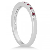 Ruby & Diamond Pave Side Stone Wedding Band 14k White Gold (0.25ct)