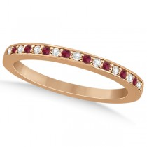 Ruby & Diamond Pave Side Stone Wedding Band 18k Rose Gold (0.25ct)