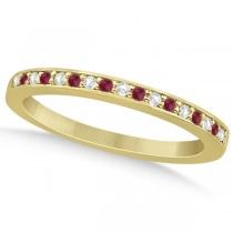 Ruby & Diamond Pave Side Stone Wedding Band 18k Yellow Gold (0.25ct)