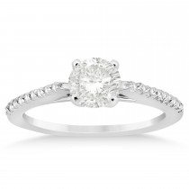Diamond Accented Engagement Ring Setting 18k White Gold 0.18ct