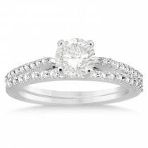 Diamond Accented Bridal Set Setting 18k White Gold 0.37ct