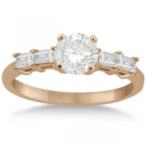 Five Stone Diamond Baguette Engagement Ring 14K Rose Gold (0.36ct)