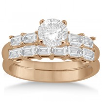 Baguette Diamond Engagement Ring & Wedding Band 14K Rose Gold (0.90ct)