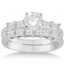 Baguette Diamond Engagement Ring & Wedding Band 14K White Gold (0.90ct)