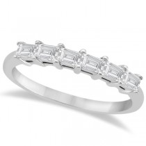 Baguette Diamond Engagement Ring & Wedding Band 14K White Gold (0.90ct)