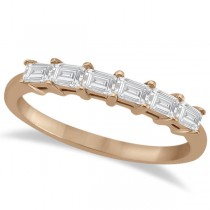 Baguette Diamond Ring Wedding Band for Women 18K Rose Gold (0.54ct)