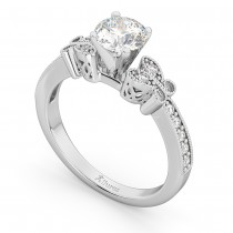 Butterfly Lab Grown Diamond Engagement Ring Setting 14k White Gold (0.20ct)