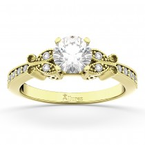 Butterfly Lab Grown Diamond Engagement Ring Setting 14k Yellow Gold (0.20ct)