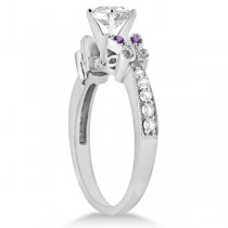 Heart Diamond & Amethyst Butterfly Engagement Ring 14k W Gold (1.50ct)