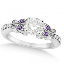 Round Diamond & Amethyst Butterfly Engagement Ring 14k W Gold (0.75ct)