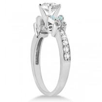Heart Diamond & Aquamarine Butterfly Engagement Ring 14k W Gold 1.50ct