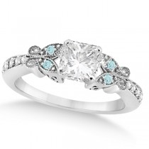 Princess Diamond & Aquamarine Butterfly Engagement Ring 14k W Gold 0.75ct