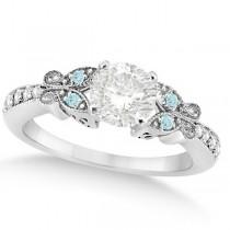 Round Diamond & Aquamarine Butterfly Engagement Ring 14k W Gold (0.50ct)
