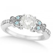 Round Diamond & Aquamarine Butterfly Engagement Ring 14k W Gold (1.00ct)