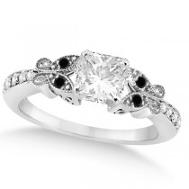 Black & White Diamond Princess Butterfly Engagement Ring 14k W Gold 1.50ct