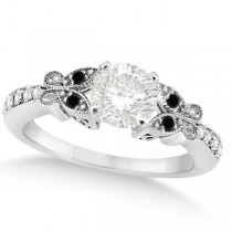 Round Black & White Diamond Butterfly Engagement Ring 14k W Gold 0.75ct
