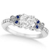Heart Diamond & Blue Sapphire Butterfly Engagement Ring 14k W Gold 0.50ct
