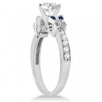 Heart Diamond & Blue Sapphire Butterfly Engagement Ring 14k W Gold 1.00ct