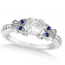 Princess Diamond & Blue Sapphire Butterfly Engagement Ring 14k W Gold 0.50ct